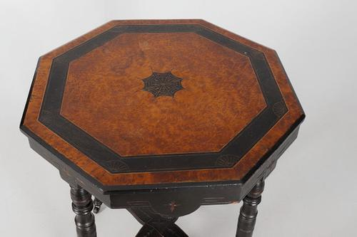 Victorian  Ebonised & Amboyna Occasional Table (1 of 3)