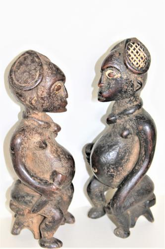 Pair of Finely Carved Wood Yoruba Figures with Elaborate Headdress Both Seated on Turtles (1 of 8)