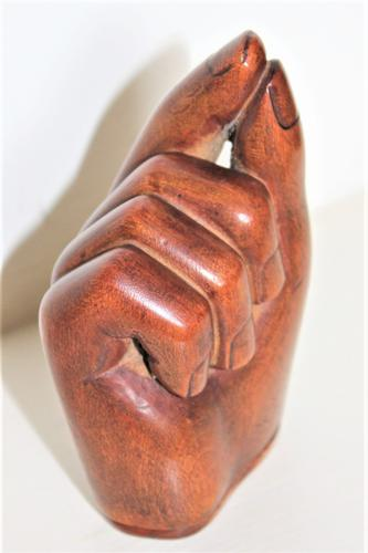 Well Carved Hardwood Snuff Box Formed as a Fist Holding a Pinch of Snuff Good Patina (1 of 6)