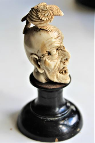 Exquisitely Carved 19th Century Dieppe Small Bone Memento Mori with Flesh To One Side of the Skull 10Cm Overall (1 of 7)
