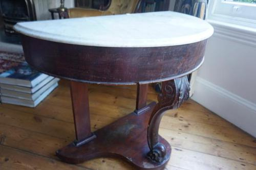 1910s Mahogany Demi Lune Side Table with Marble Top (1 of 3)