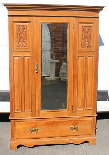 1940s Satin Walnut One Door Mirrored Wardrobe with Base Drawer and Carving (1 of 4)