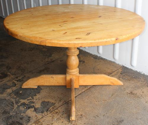 1940s Country Pine Round Dining Table on Base (1 of 4)
