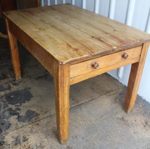 1900s Country Pine Small Rectangle Side Table with Drawer (1 of 3)