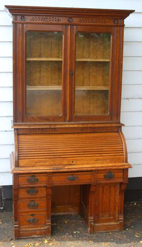 1900s Oak Rolltop Desk with Double Glazed Door Bookcase (1 of 7)