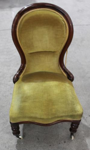 Mahogany Nursing Chair with Green Upholstery c.1910 (1 of 3)