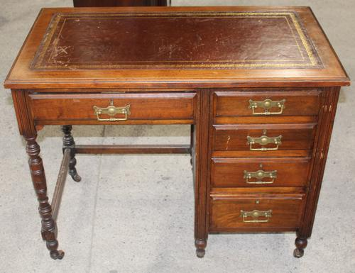 1920s Oak Desk with Red Leather Top (1 of 4)