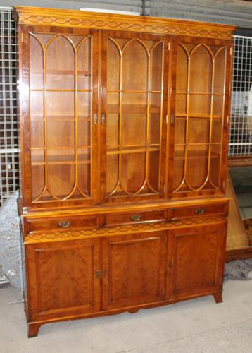 1960s Large 4 Door Yew Wood Bookcase with Glazed Top (1 of 3)