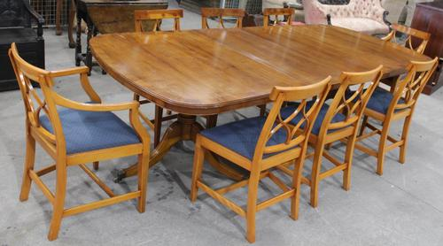 1960s Walnut Dining Suite with Set 8 Dining Chairs. 6 +2 Carvers (1 of 7)