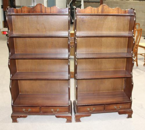 1960s Pair of Mahogany Waterfall Open Bookshelves with Drawer at Base (1 of 4)