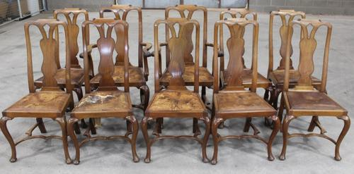 1920s Set of 8 Mahogany Queen Anne Style Chairs 6 + 2 Carvers with Pop-out Seats (1 of 4)