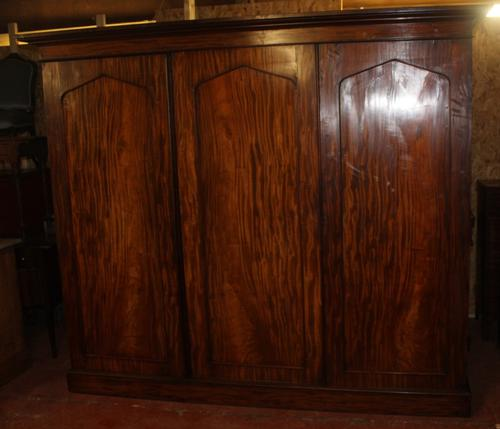 1900s Large 3 Door Mahogany Compactum Wardrobe with Good Interior (1 of 3)
