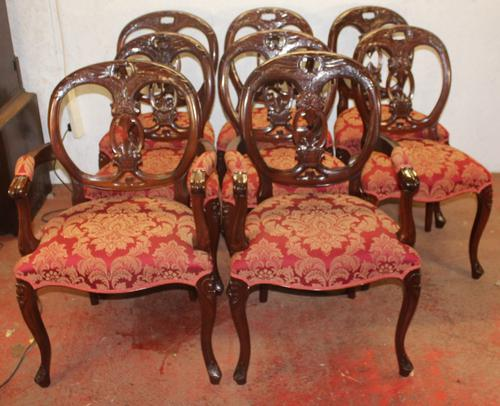 1960s Set of 8 Mahogany Ballonback Dining Chairs Red Upholstery (1 of 3)