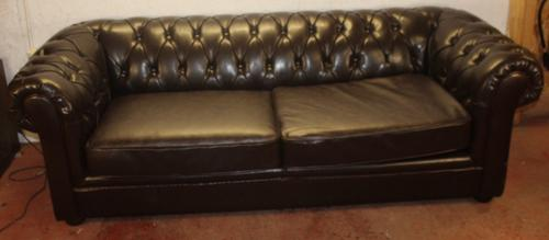 1960s Brown Leatherette 3 Seater Chesterfield Sofa (1 of 4)