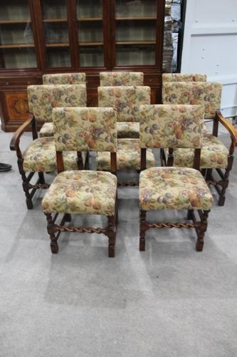 1900s Set of 8 Oak Barley Twist Chairs in Floral Upholstery. 6 + 2 Carvers (1 of 3)