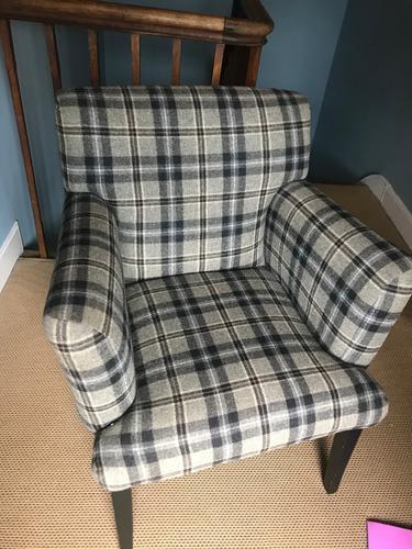 Smart Mahogany Armchair Upholstered in Black / Grey Tartan (1 of 3)