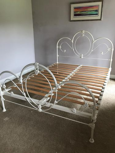 1960s Decorative Double Iron Bed Frame Painted White with Base (1 of 3)