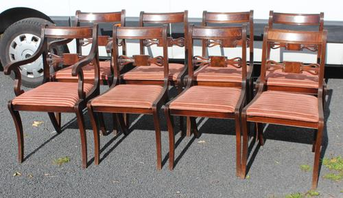1960s Set of 8 Mahogany Bar Back Dining Chairs with Pop-out Seats 6+2 Carvers (1 of 3)