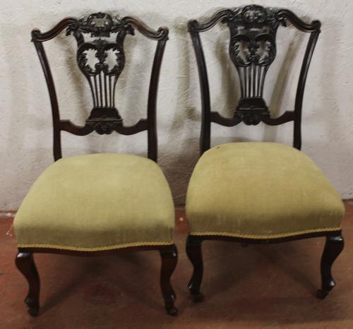 1920s Pair of Mahogany Nursing Chairs Green Upholstery (1 of 3)
