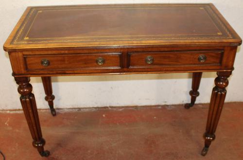 1900s Mahogany 2 Drawer Table with Red Leather Inset on Fluted Legs (1 of 4)