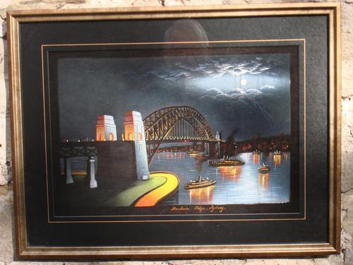 Sydney Harbour Bridge, Acrylic On Velvet (1 of 1)