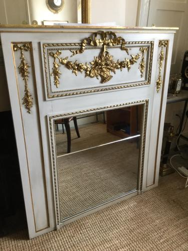 French 19th Century Mirror in a Grey & Gilt Frame (1 of 2)