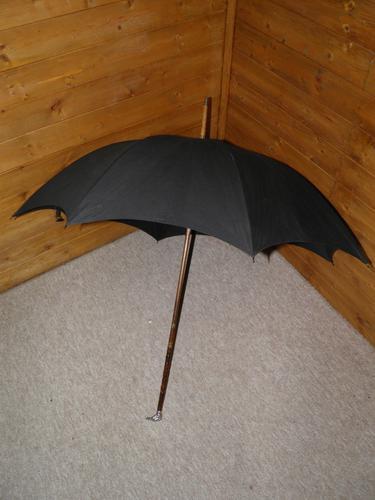 Antique Hallmarked 1903 Silver Eagle Bird's Head Handle Black Canopy Umbrella (1 of 17)