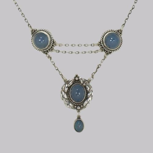 Arts & Craft Chalcedony Necklace Silver Edith Stewart Victorian Pendant c.1900 (1 of 8)