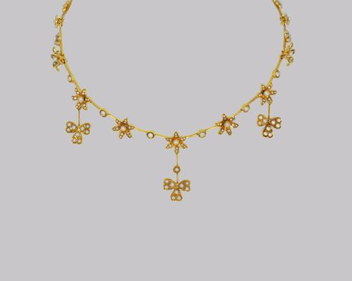 Antique Seed Pearl Necklace 15ct Gold Three Leaf Clover Edwardian Necklace c.1910 (1 of 8)