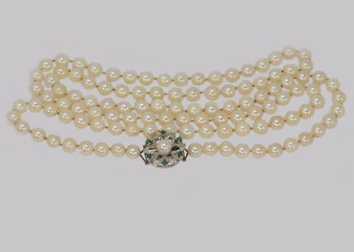 """Vintage Pearl Necklace with Turquoise Floral Clasp 1960s French Necklace 40"""" Long (1 of 7)"""