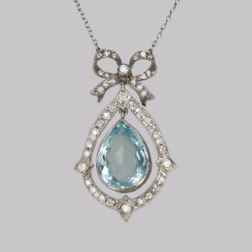 Antique Aquamarine  &  Diamond Necklace Platinum Belle Epoque Italian Pendant c.1910 (1 of 8)