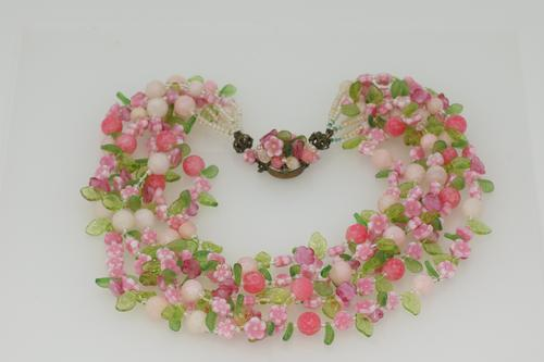 Vintage Christian Dior Floral Necklace 1966 Lucite Necklace with Original Box (1 of 9)