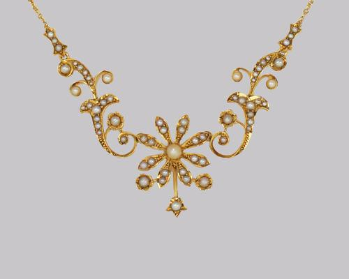 Edwardian Seed Pearl Necklace 9ct Gold Floral & Scroll Antique Necklace C.1910 (1 of 6)