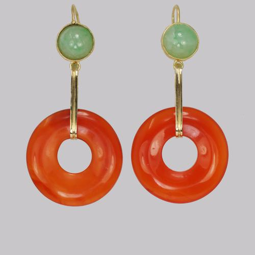 Vintage French Drop Earrings Carnelian & Jade 18ct Gold 1960s Dangle Earrings (1 of 8)
