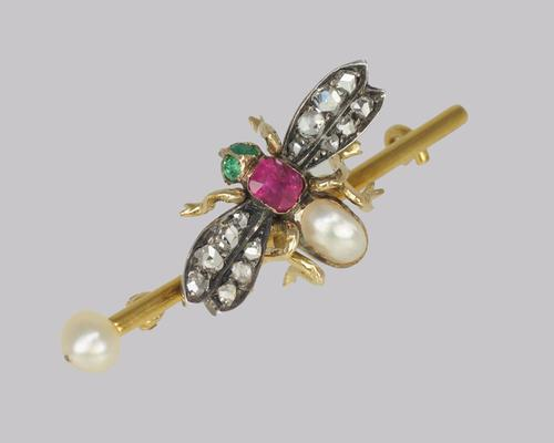 Victorian Bee Brooch Antique 18ct Gold Ruby Pearl Emerald Rose Cut Diamond Insect Brooch (1 of 8)
