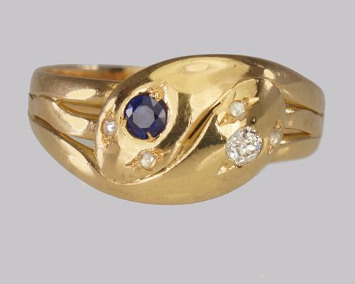 Antique 18ct Gold Old Mine Cut Diamond & Sapphire Snake Serpent Ring Hallmarked London 1902 (1 of 14)