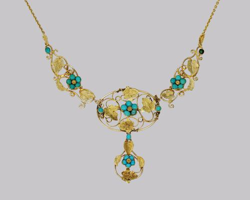 Victorian 15ct Gold Turquoise Necklace Antique Floral Scroll Necklace c.1860 (1 of 10)