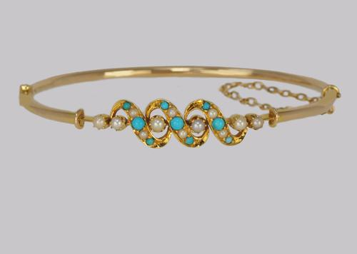 Victorian Turquoise & Pearl Bangle Antique 15ct Gold Bracelet with Box circa 1900 (1 of 14)