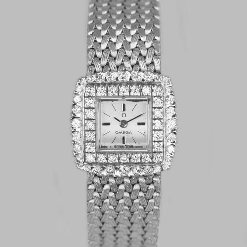 Omega Diamond Bracelet Watch Ladies Vintage 9ct Gold 1970'S Watch 1.20 Carat Diamonddiamond (1 of 11)