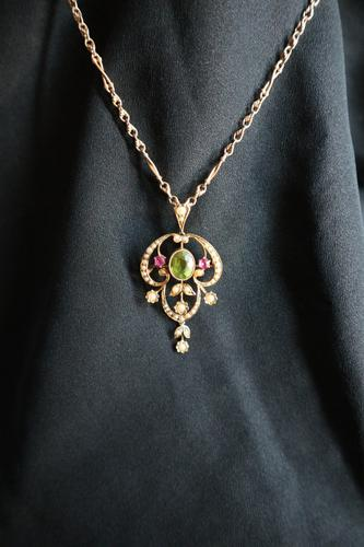 Art Nouveau, 15ct Gold, Peridot, Ruby & Seed Pearl Pendant (Combination Brooch) with 15ct Elaborate Naturalistic Ropework Chain, Suffragette Colours (1 of 28)