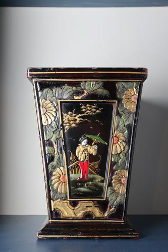 Art Deco Era 1920s Chinoiserie Jardiniere / Planter, Chrysanthemum Motif, Ebonised Carved Wood & Painted Gilt Decoration 'Chinese Ebonised' (1 of 25)