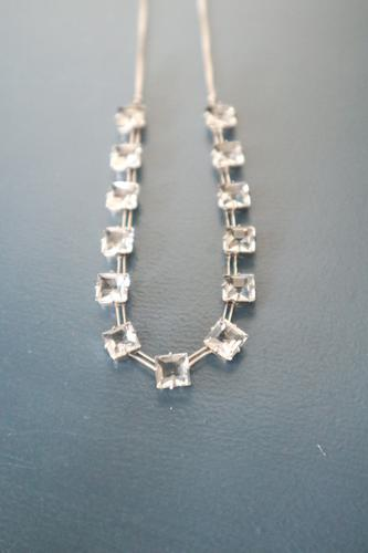 Art Deco Sterling Silver Necklace with Square Faceted Glass Crystal c.1939 (1 of 16)