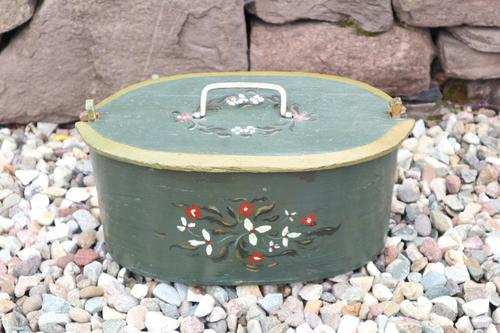Scandinavian / Swedish 'Folk Art' Wooden Birch 'Sveapask' Storage Boxes, One Floral Painted / Decorated, Both 19th Century (1 of 28)