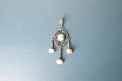 Art Nouveau / Jugendstil, Silver Metal, Filigree Turquoise & Triple Drop Pearl Pendant c.1910 (1 of 13)