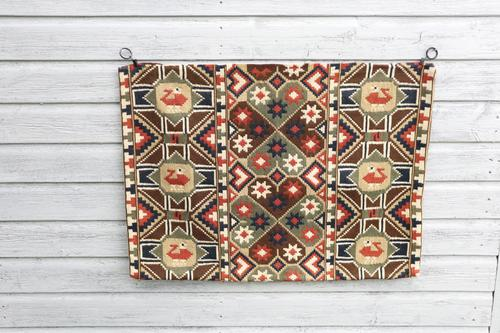 "Scandinavian / Swedish 'Folk Art' Skåne Region, Large Woven Röllakan ""Agedyna"" Cushion Cover, Floral & Geometric Pattern c.1925 (1 of 20)"