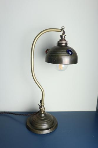 Art & Crafts / Art Nouveau, Brass & Coloured Glass Jewel, Table / Desk Lamp c.1910 Re-Wired / Pat Tested (1 of 37)
