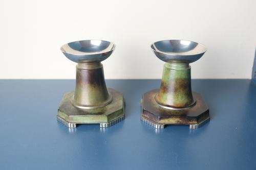 Art Deco Pair of Swedish Patinated Bronze Candle Holders by Gab in Ori Design c.1938 (1 of 11)