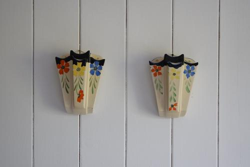Art Deco Floral Wall Pocket Vases by Arthur Wood (1 of 9)