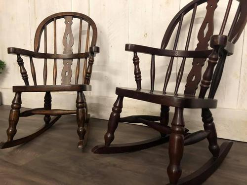 Pair of Childrens Elm Rocking Chairs (1 of 7)