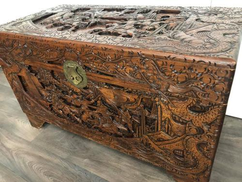 Large Eastern Carved Camphor Wood Chest (1 of 9)
